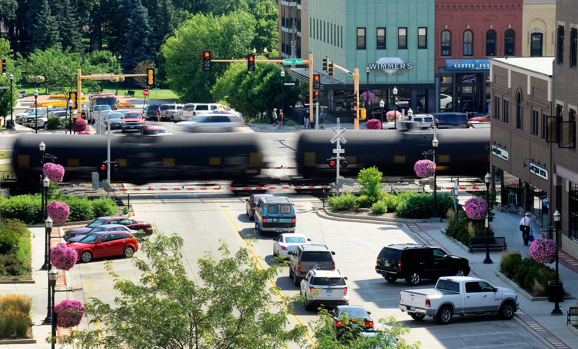 Photo of oil train in downtown Fargo, North Dakota by editorial photographer Dan Koeck.
