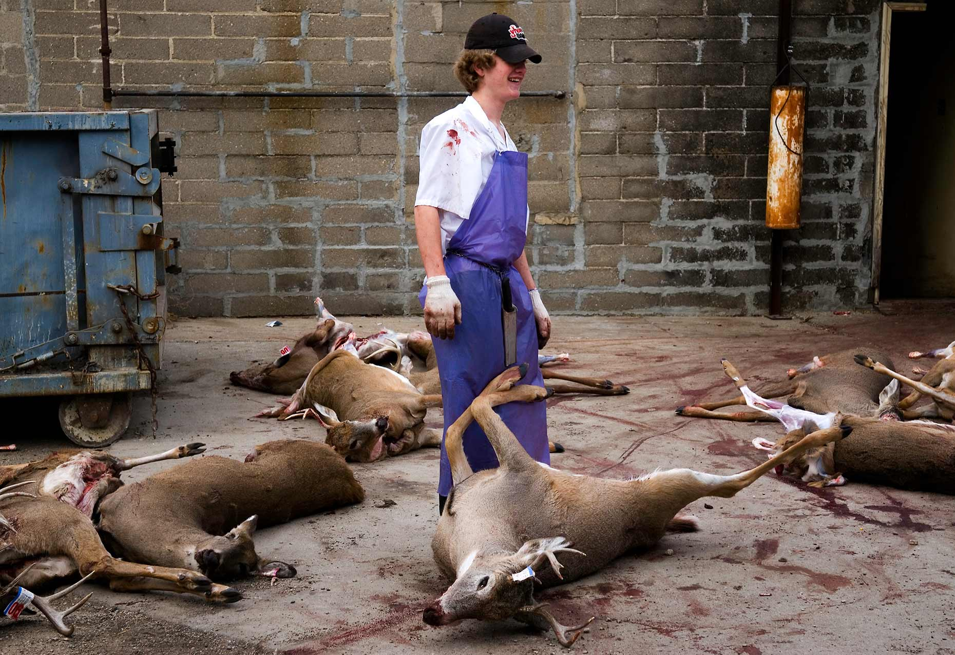 A North Dakota butcher shop employee photographed by North Dakota photojournalist Dan Koeck