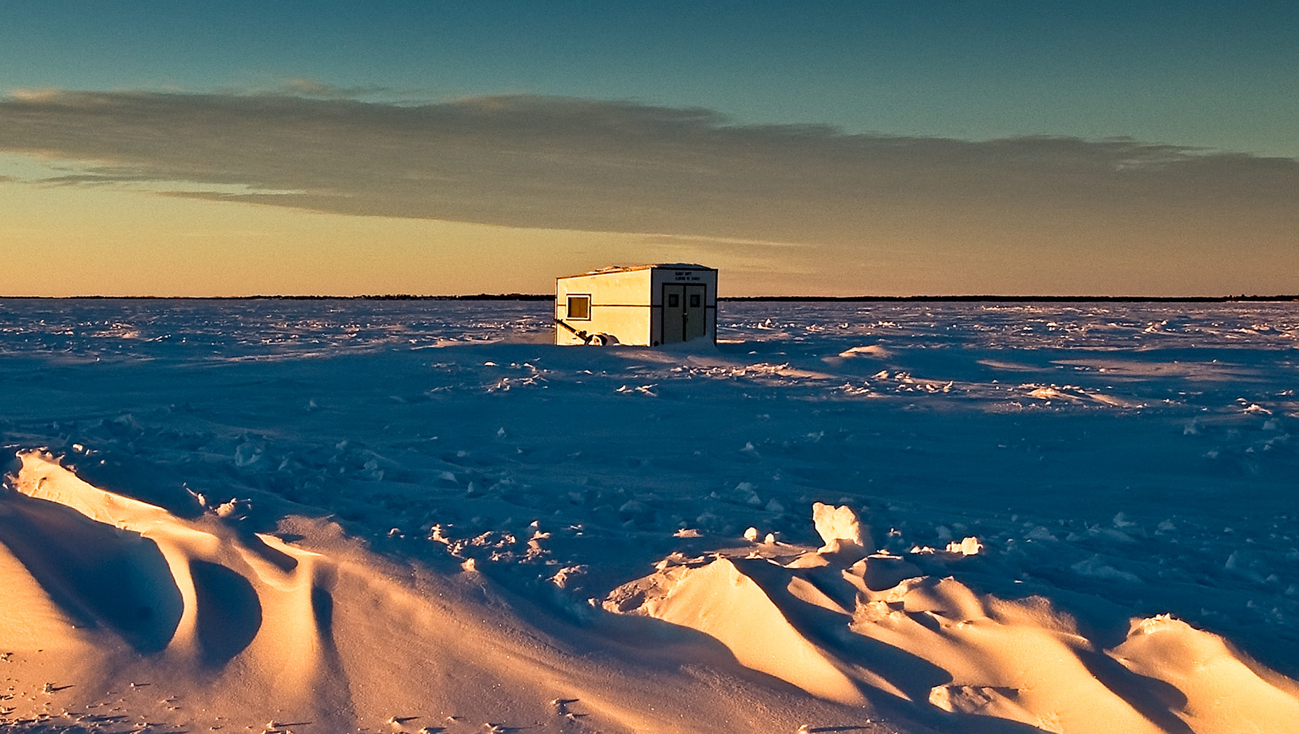 North Dakota icefishing hut on Devil