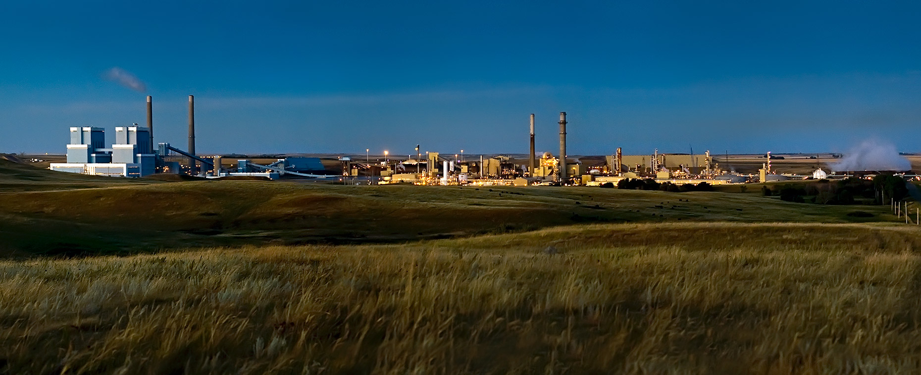 A photo of  Antelope Valley Power Plant and Great Plains Synfuels Plant by North Dakota commercial photographer Dan Koeck.